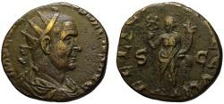 Ancient Coins - Very rare Trajan Decius AE double sestertius - FELICITAS - Impressive portrait