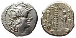 Ancient Coins - Minucius Augurinus AR denarius - 134 BC almost EF