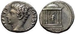 Ancient Coins - Augustus AR denarius - MART VLT Mars Temple - Very Rare R3