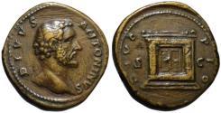 Ancient Coins - Divus Antoninus AE sestertius - DIVO PIO Altar - g. VF