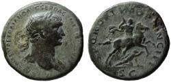Ancient Coins - Trajan AE sestertius - Emperor on horseback thrusting fallen Dacian