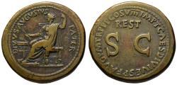 Ancient Coins - Divus Augustus AE sestertius Titus restoration - A Beauty