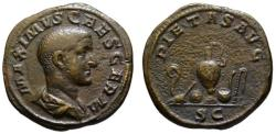 Ancient Coins - Maximus AE As - PIETAS AVG - Rare Priestly Implements