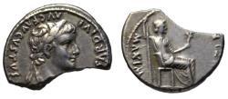 Ancient Coins - Tiberius AR halved denarius - LIVIA - fine early style aEF