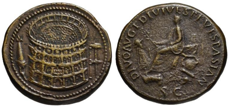 Ancient Coins - Paduan cast medal after Cavino - Titus AE sestertius COLOSSEUM