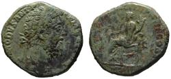 Ancient Coins - Commodus AE sestertius - FORTUNA - Attractive light green patina.