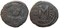 Ancient Coins - Justinian I AE follis - Large M - Nicomedia dated 555 AD