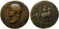 Ancient Coins - Nero AE sestertius - DECVRSIO - Bust left 35mm