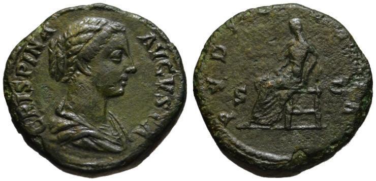 Ancient Coins - Crispina AE sestertius - PUDICITIA - VF+  Scarce