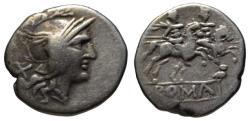 Ancient Coins - Anonymous AR denarius - Dioscuri - Very Rare Owl Symbol