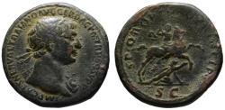 Ancient Coins - Trajan AE sestertius - Emperor on horseback thrusting fallen Dacian - Rare Aegis