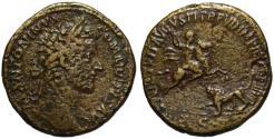 Ancient Coins - Commodus AE sestertius - VIRTUTI AUGUSTI - Rare Venatio scene