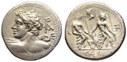 Ancient Coins - L. Caesius AR denarius - Apollo Vejovis & Lares - EF