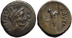 Ancient Coins - Julius Caesar AR portrait denarius - Aemilius Buca - Ch. good VF+