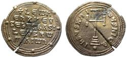 Ancient Coins - Leo VI the Wise AR Miliaresion - Cross and Legend
