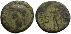 Ancient Coins - Claudius AE As - CONSTANTIAE AUGUSTI - Green patina