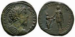 Ancient Coins - Marcus Aurelius AE sestertius - Emperor raising Italia - (R) Rare