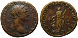 Ancient Coins - Trajan AE sestertius - ARABIA ADQ - Rare
