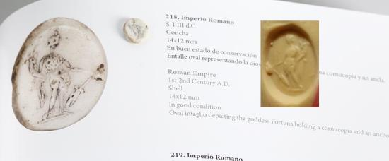 Ancient Coins - Roman sea shell intaglio - FORTUNA - 1-3rd C. AD - Very Rare on this material