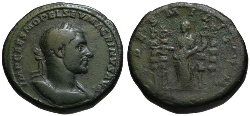 Ancient Coins - Macrinus AE sestertius - FIDES MILITUM - 4 standards rare var.