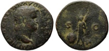 Ancient Coins - Nero AE As - VICTORY - Great patina