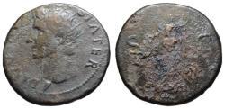 Ancient Coins - Divus Augustus AE dupondius - Victory resting SPQR shield - Extr. Rare