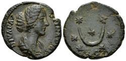 Ancient Coins - Diva Faustina AE As - Crescent & Stars - gVF Rare
