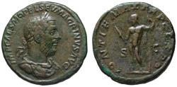Ancient Coins - Macrinus AE sestertius - JUPITER - Rare & very attractive