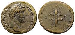 Ancient Coins - Antoninus Pius AE sestertius - PROVIDENTIAE DEORVM winged thunderbolt - Almost EF