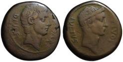 Ancient Coins - Octavian & Julius Caesar AE sestertius - Nice style portraits