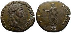 Ancient Coins - Claudius AE sestertius - SPES AUGUSTA - EF