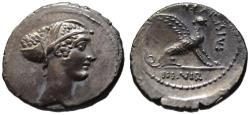 Ancient Coins - T. Carisius AR denarius - SPHINX - EF / UNC