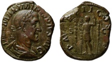 Ancient Coins - Maximinus AE sestertius - Emperor with standards - near EF