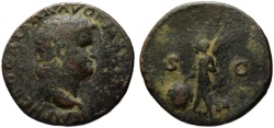 Ancient Coins - Nero AE As - VICTORY - Nice patina