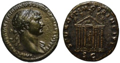 Ancient Coins - Stunning Trajan AE As - Octastyle temple of Jupiter with Pax - Very rare & Choice
