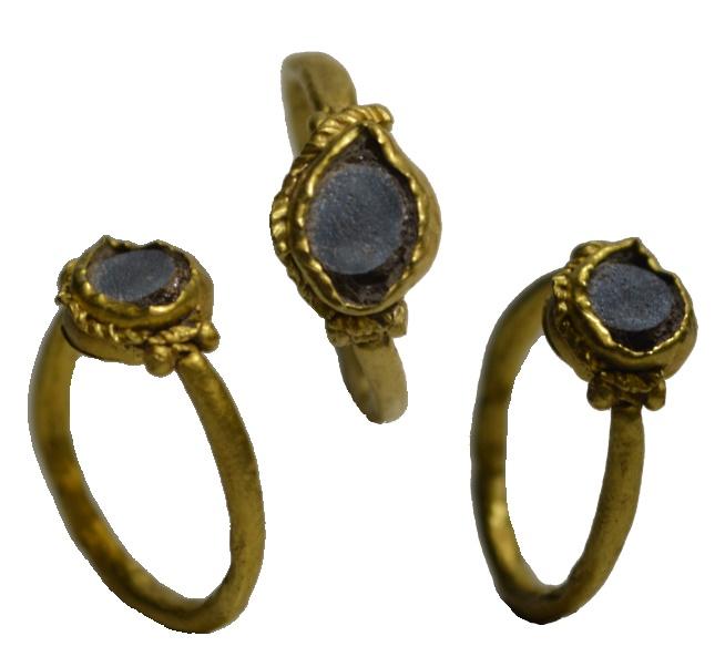 5081ea1c4b7b2 Roman gold intaglio ring - glass imitating Nicolo - 3rd Century AD