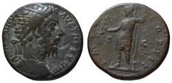 Ancient Coins - Marcus Aurelius AE dupondius - ROMA standing - 173 AD