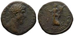 Ancient Coins - Lucius Verus AE sestertius - Victory advancing left - Scarce