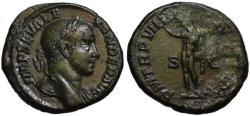 Ancient Coins - Severus Alexander AE As - Sol Helios - aEF portrait