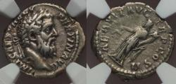 Ancient Coins - Pertinax AR denarius - Aequitas - Ch. VF+ Rare