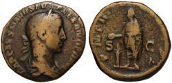 Ancient Coins - Alexander Severus AE sestertius - Emperor sacrificing - 226 AD