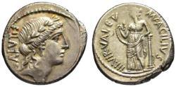 Ancient Coins - Acilius Glabrio AR denarius - VALETUDO - Choice EF+