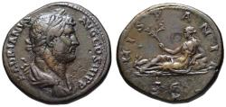 Ancient Coins - Hadrian AE sestertius - HISPANIA - Rare travel series type