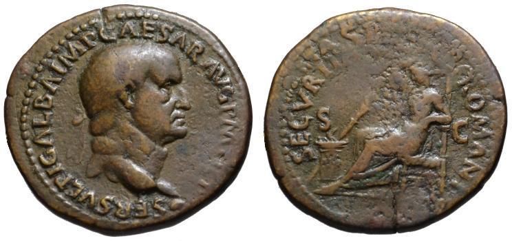 Ancient Coins - Galba AE As or Dupondius - SECURITAS P. ROMANI - Very Rare
