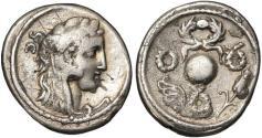 Ancient Coins - Faustus Cornelius Sulla AR denarius - Pompey's triumphal wreaths