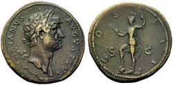 Ancient Coins - Large 36mm Hadrian AE sestertius - VIRTUS - Good VF