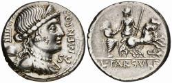 Ancient Coins - L. Farsuleius Mensor AR denarius - Libertas & Biga - 75 BC