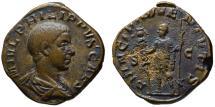 Ancient Coins - Philip II as Caesar AE sestertius - PRINCIPI IUVENTUTIS - Very Rare with military standard