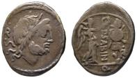 Ancient Coins - Vettius Sabinus AR quinarius - Victory crowning trophy - 99 BC