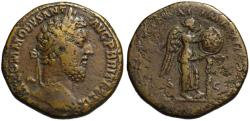 Ancient Coins - Commodus AE sestertius - VO DE on shield - (R) Rare